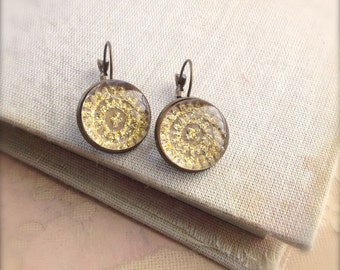 Gold Glitter Earrings Glass Dome Earrings Sari Fabric Earrings Antiqued Bronze
