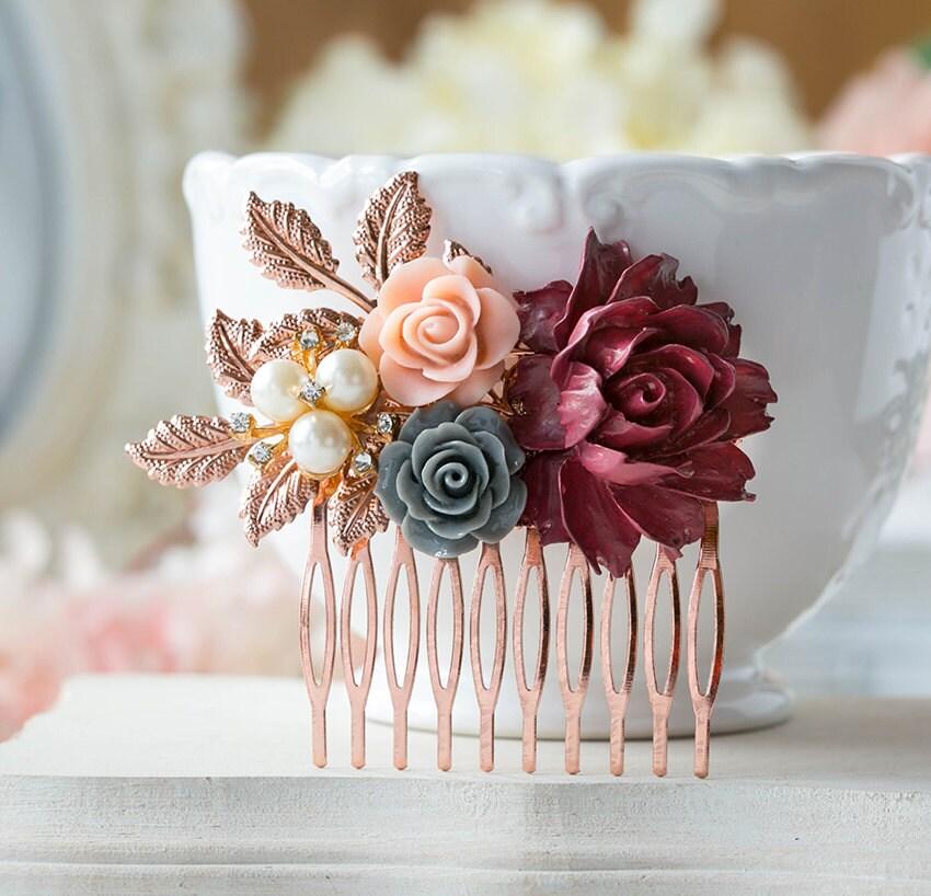 Rose Gold Bridal Hair Comb Maroon Burgundy Dark Red Wedding