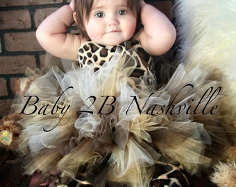 Brown Safari Giraffe Tutu Costume Baby Giraffe Costume up to 24M Top and Tutu ONLY