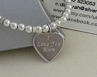 Sterling Silver Bracelet, Engraved Sterling Silver Heart, Sterling Silver Beaded Bracelet, Personalized Mothers Day Gift.