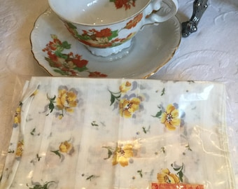 One White Cotton Handkerchief with Yellow/Green/Gray Flowers