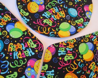 Birthday Wedge Placemats Reversible set of 4 or 6 Birthday Party Placemats Balloon Placemats Unisex Birthday Placemats for a round table