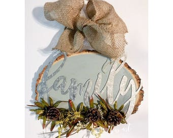 "Galvanized ""Family"" Cut-out w/ attached greenery & Burlap Bow."