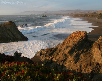 California Coast Photograph with View of the Pacific Ocean and Wrights Beach from Highway 1 Fine Art Photography in Four Different Sizes