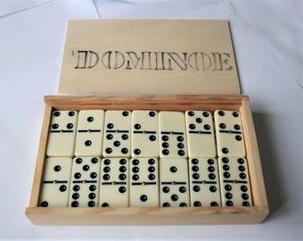 Vintage dominoes.  In original box.  Domino set.  Retro board game