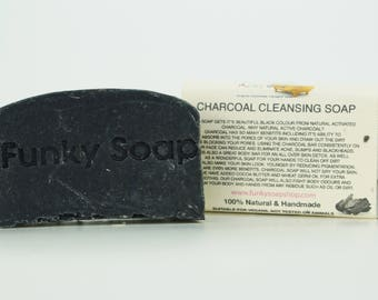 1 piece Charcoal Cleansing Soap Bar, 100% Natural Handmade, 65g