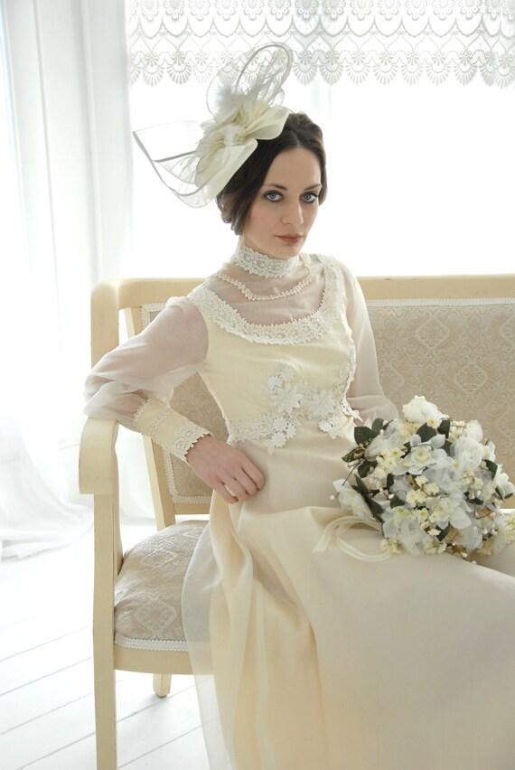 Vintage viktorianischen Stil Brautkleid Elfenbein chiffon
