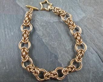 Chainmaille Bracelet - Byzantine Weave - Brass Chainmail - Chainmail Bracelet - Chainmaille Jewelry - Yellow Brass - Star Toggle Clasp