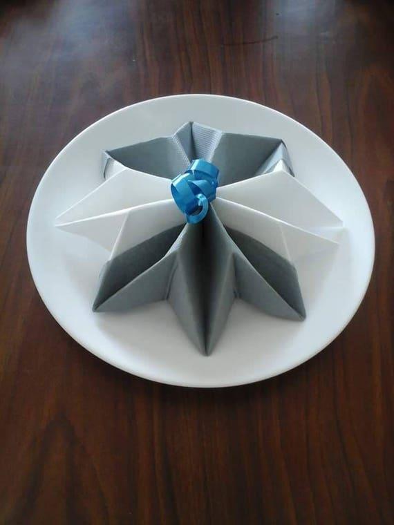 Pliage Serviette En Forme De Flocon De Noel Bleu