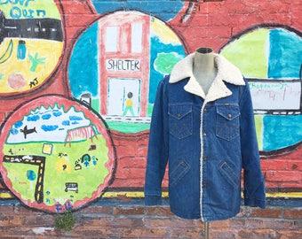 Vintage 1970s Denim Maverick Ranch Coat (Men's Size Large)