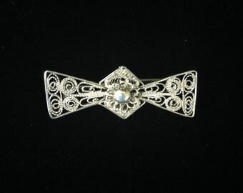 Silver Filigree brooch-Small Filigree Bowtie Brooch- Vintage Filigree Jewellery- Vintage Filigree Jewelry