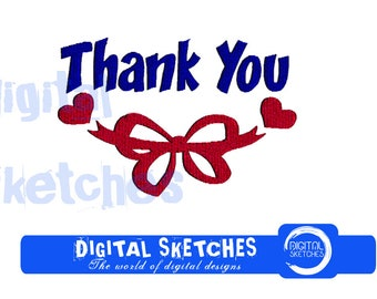 Thank You Machine Embroidery Design 3 Sizes