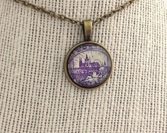 1918 Purple Hradcany Castle - Alfonse Mucha - Postage Stamp Jewelry - Vintage Postage Stamp Necklace - Antique Bronze