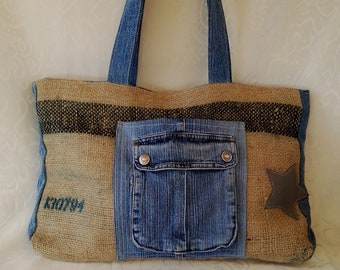 Denim and jute bag, shoulder bag, woman, Stella leather, vintage JEANS, gift idea, Mother's Day, grandma, birthday, gifts for her
