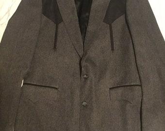Vintage Circle S Men's Western Suit, Black and Grey Rockabilly Suit Size 40L