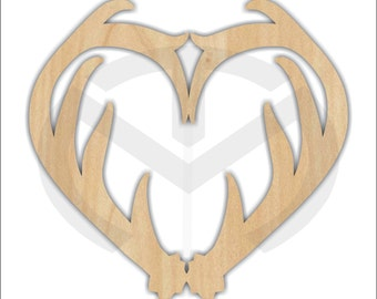 Unfinished Wood Deer Antler Heart Laser Cutout, Wreath Accent, Door Hanger, Ready to Paint & Personalize, Various Sizes