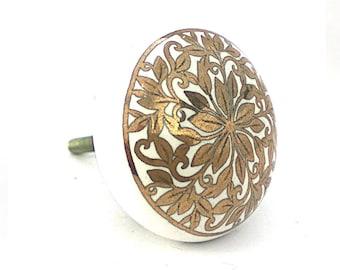 Round Gold Floral Knob, White & Gold Handpainted Cabinet Knob, Decorative Round Ceramic Knob,  Cabinet Hardware, Modern Furniture Knob