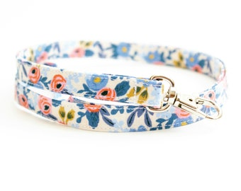 Periwinkle Blue Floral Fabric Lanyard with Swivel Clasp - Long Key Lanyard for Teachers - ID Strap - 15.5-19.5 Inch Drop - Cute Skinny