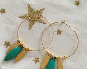 Earrings hoop earrings - boho chic - turquoise and gold Sequins