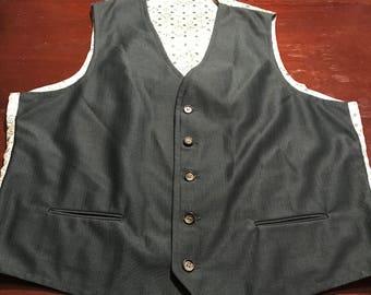 Vintage 1970's Suit Vest/ Bartender/ Hipster/Dark Green/ Mod/Polyester Blend