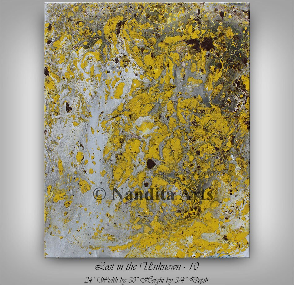 Yellow painting 30 Mixed media wall art Original