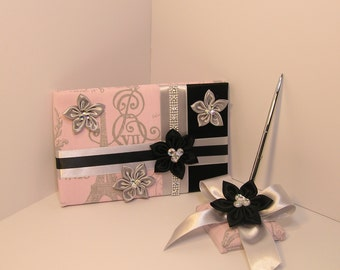 Wedding Guest Book and Pen Set French Stamp -Custom Made/made to order.