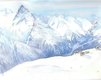 Watercolor Painting 'Ski Slope' by Natalia Hoult