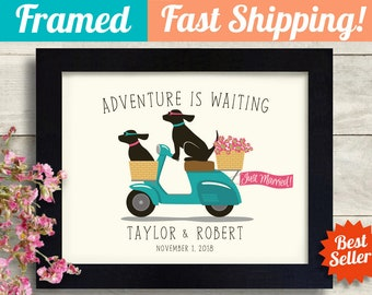 Dog Wedding Gift Idea, Puppy Love, Labrador Retriever, Unique Engagement Gift Personalized Framed Gift Art Print Couples Gift Newlyweds