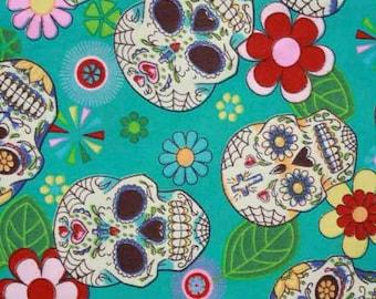 Cloth Pad   Cloth Menstrual Pad   CSP   Reusable Cloth Pad   6, 8, 9, 10, 11 or 12 inch Custom Order   Day of the Dead Aqua Cotton