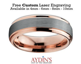 Tungsten Ring Rose Gold   Wedding Band   6mm Ring   Beveled Edge   Brushed and Polished   Men & Womens Wedding Band Tungsten