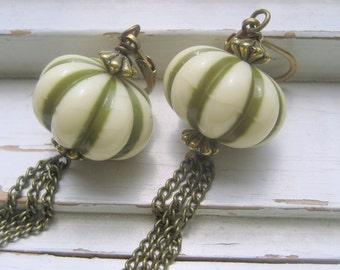Army green stripe earrings, vintage Lucite beads, brass chain, fun fall dangle earrings