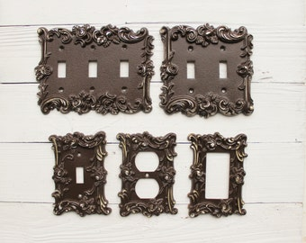 Decorative Plates, In Espresso Brown, Switch Cover, Lightswitch Cover, Light Switch Cover Plates,Shabby Chic,Custom Light Switch Cover