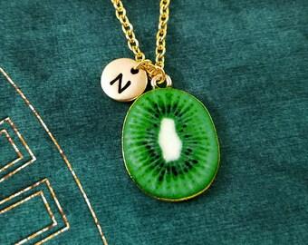 Kiwi Necklace Kiwi Jewelry Food Jewelry Fruit Jewelry Slice Charm Necklace Kiwi Pendant Necklace Initial Necklace Personalized Jewelry Gift
