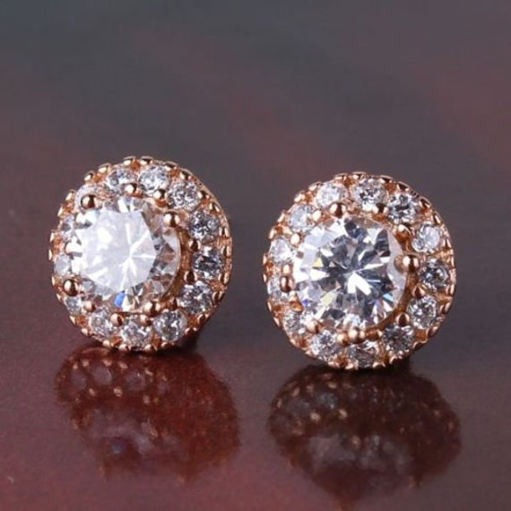Lovely 18ct yellow rosegold filled clear sapphire crystal stud earrings