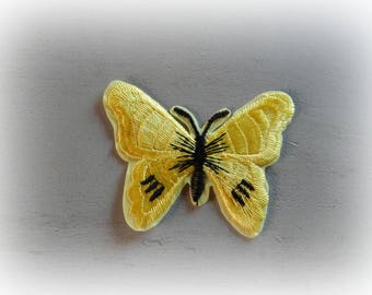 1 patch fusible patch / applique Butterfly in shades of yellow and black 5.5 * 7 cm