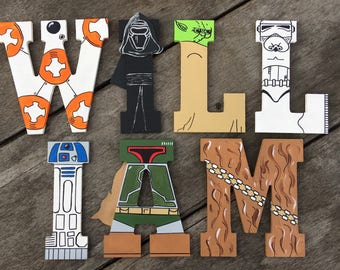 "Hand-painted 5.5"" tall wood letters Star Wars"