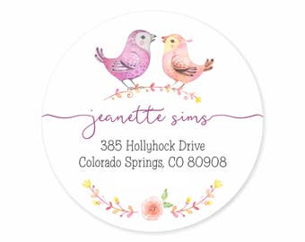 Love Birds Watercolor Floral Spray Personalized Address Labels Stickers