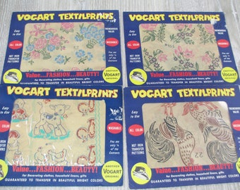 4 1950s Vogart Transfers Cute Farm Flowers Birds Country Transfer Lot Iron On Textilprints Scarecrow Lamb Rooster Cow Duck Dog