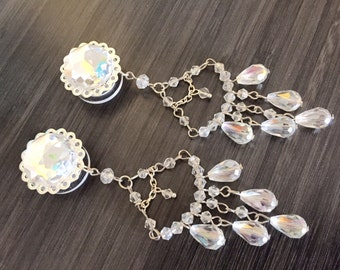 "5/8"" Plugs Formal Beaded Tunnels Gauged Earrings Chandelier Gauges 18mm 16mm Dangle Plugs, 11/16"" Guage Bridal Body Jewelry"