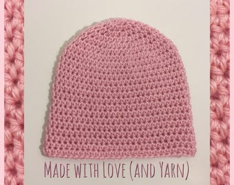 Toddler Handmade Crochet Knit Soft Warm Simple Slouch Winter Hat/Toque/Beanie - Light Pink