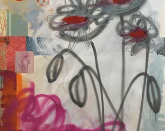 44x60, Poppy POP, original mixed media on 100% cotton paper by Katherine Baronet