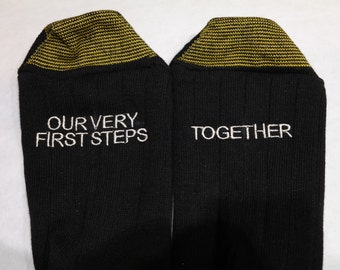 """Men's """"Our Very First Steps- Together""""  Embroidered Wedding Socks Ships in 1-2 Days!!!"""