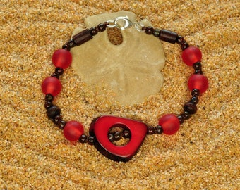 Crimson Red Tagua Nut and Fair Trade Resin Hand Knotted Lightweight Stacking Bracelet
