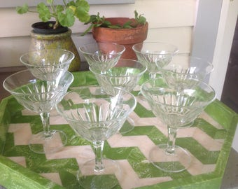 Vintage Crystal Champagne Coupes or Martini Glasses - set of