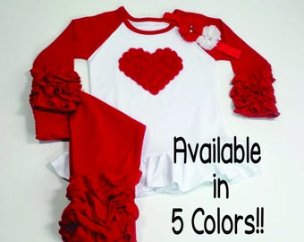 Icing Ruffle Valentine's Outfit Girls Valentine Outfit Valentines Day Shirt Triple Ruffle Raglan Outfit w Rose Heart Girls Ruffle Raglan
