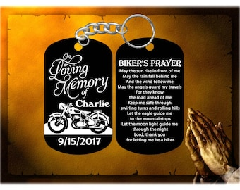 Biker - Harley Davidson Remembrance Keychain - In Loving Memory with The Biker's Prayer - Personalized