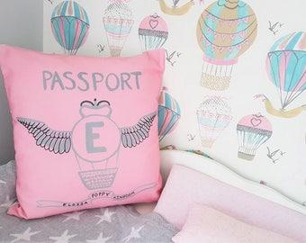 Personalised passport cushion