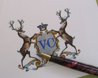 Personalized Stag Deer Family Crest Monogram Note Cards Color Stationery Initials Set 10 Vintage Inspired Heraldic Monogrammed NoteCards