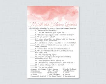 Pink Movie Love Quote Match Game - Printable Pink Watercolor Bridal Shower Movie Quote Game - Pink Watercolor Bridal Shower Game - 0030-P
