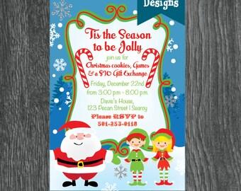 Christmas Party Invitation, Santa, Elves, Candy Cane, Snow